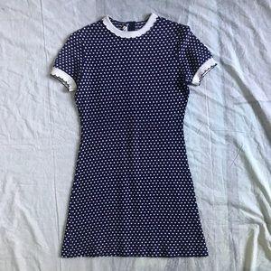 1970s Blue and White Polka Dot Dress